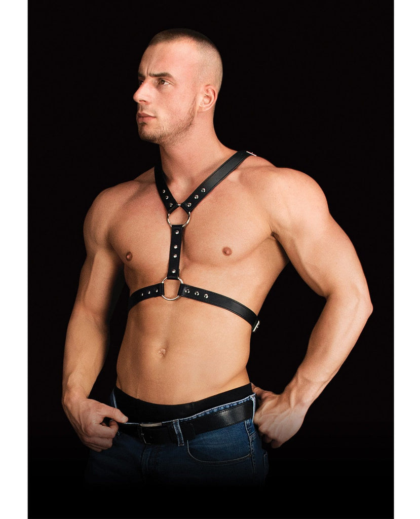Shots Ouch Thanos Chest Centerpiece Body Harness - Black-Bondage Blindfolds & Restraints-Shots America LLC-Slightly Legal Toys