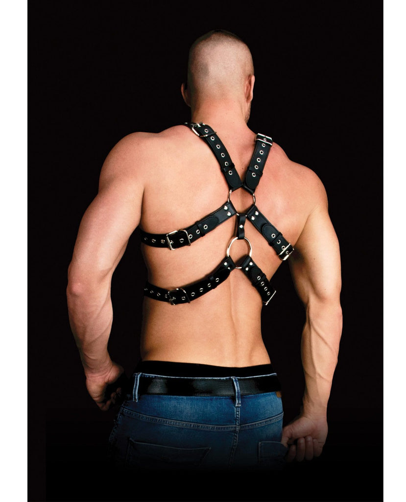 Shots Ouch Andreas Masculine Masterpiece Body Harness - Black-Bondage Blindfolds & Restraints-Shots America LLC-Slightly Legal Toys