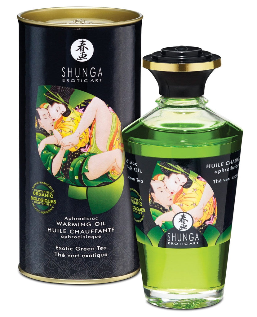 Shunga Organica Aphrodisiac Warming Oil - 3.5 Oz Green Tea-Massage Products-Shunga-Slightly Legal Toys