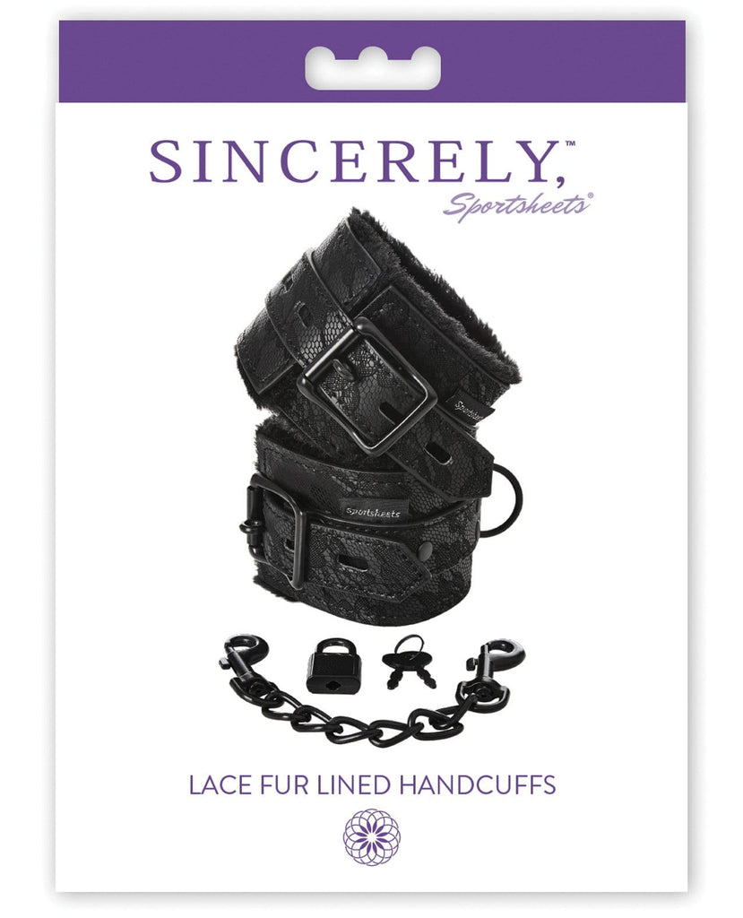 Sincerely Lace Fur Lined Handcuffs-Bondage Blindfolds & Restraints-Sportsheets International-Slightly Legal Toys
