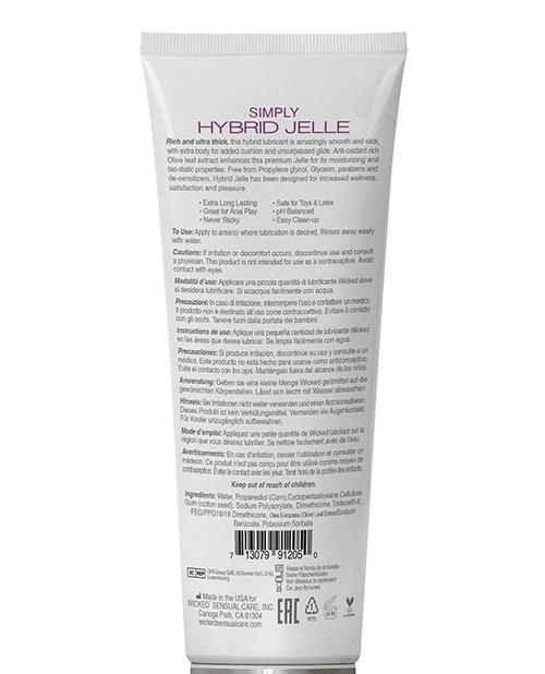 Wicked Sensual Care Simply Hybrid Jelle Lubricant - 4 Oz
