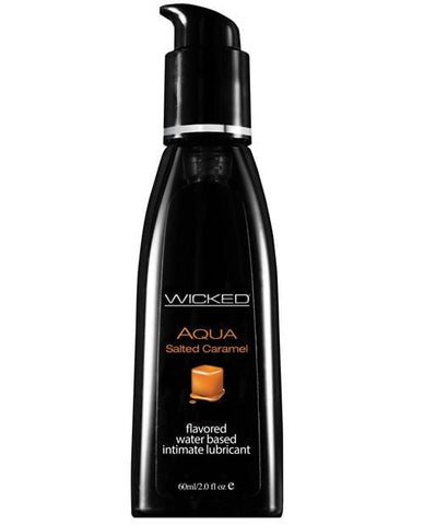 Wicked Sensual Care Aqua Waterbased Lubricant - Flavors-Lubricants-Wicked Sensual Care-Salted Caramel-2 Oz-Slightly Legal Toys