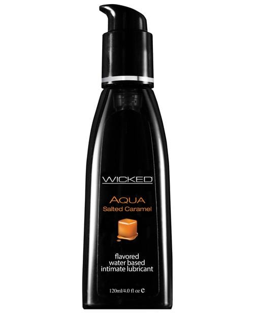 Wicked Sensual Care Aqua Waterbased Lubricant - Flavors-Lubricants-Wicked Sensual Care-Salted Caramel-4 Oz-Slightly Legal Toys