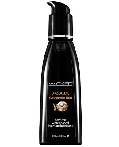 Wicked Sensual Care Aqua Waterbased Lubricant - Flavors-Lubricants-Wicked Sensual Care-Cinnamon Bun-4 Oz-Slightly Legal Toys