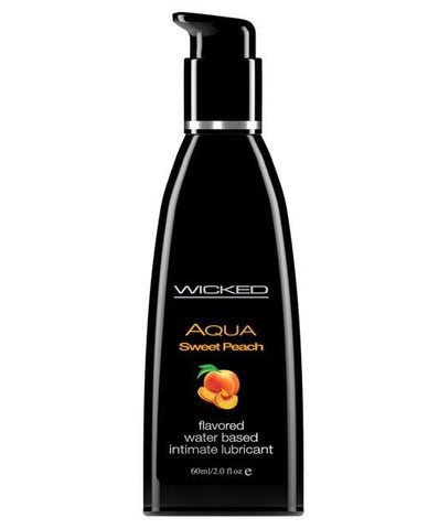Wicked Sensual Care Aqua Waterbased Lubricant - Flavors-Lubricants-Wicked Sensual Care-Sweet Peach-2 Oz-Slightly Legal Toys