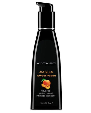 Wicked Sensual Care Aqua Waterbased Lubricant - Flavors-Lubricants-Wicked Sensual Care-Sweet Peach-4 Oz-Slightly Legal Toys