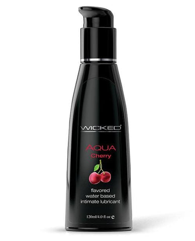 Wicked Sensual Care Aqua Waterbased Lubricant - Flavors-Lubricants-Wicked Sensual Care-Cherry-4 Oz-Slightly Legal Toys