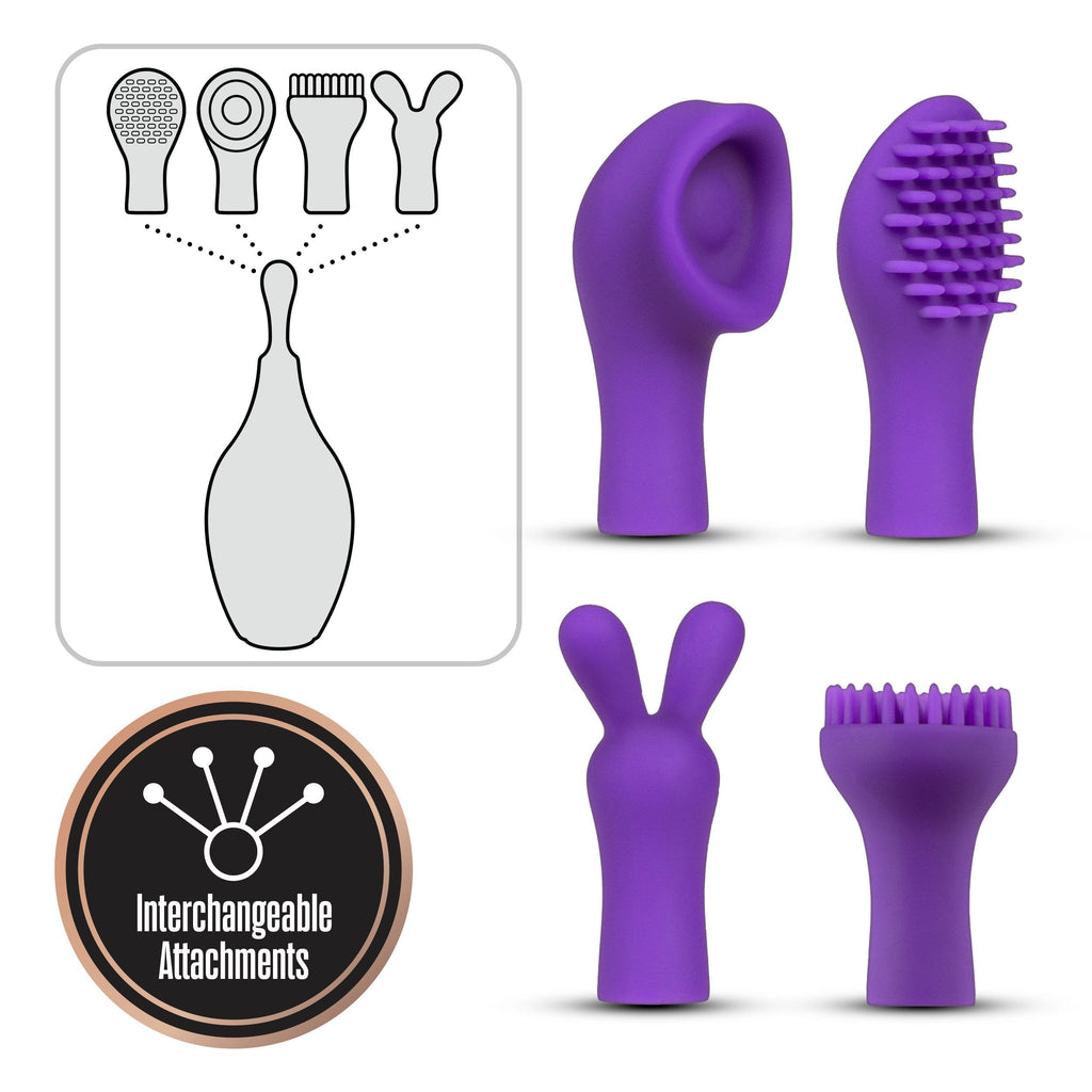 Lush Juna High-Frequency Vibe w/4 Attachments - Slightly Legal Toys - Lush Juna High-Frequency Vibe w/4 Attachments abs_plastic, Clit Ticklers, PR - Purple, silicone Blush Novelties