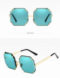 Gracie - Oversized Beveled Edge Sunglasses