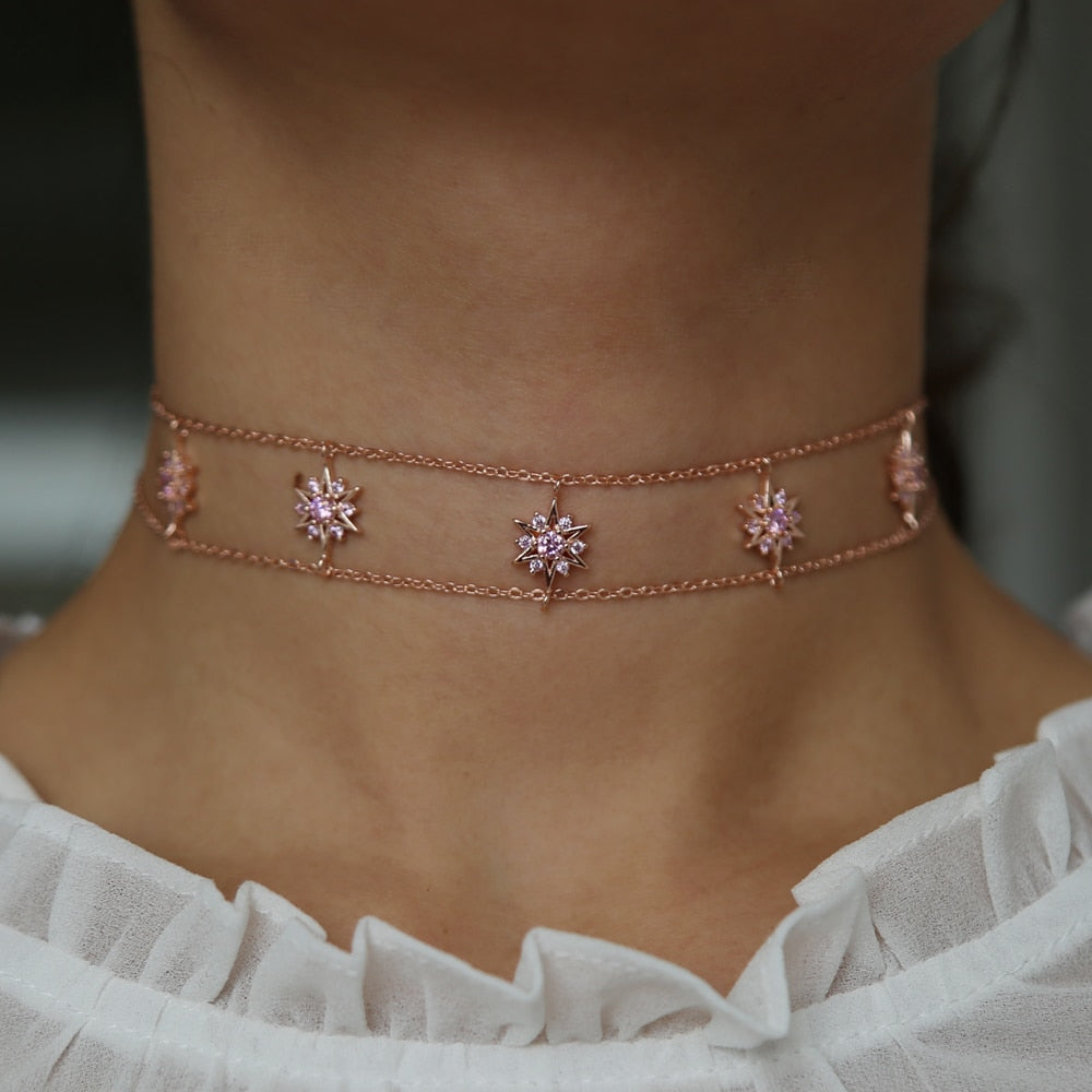 Rose Gold Snowflake - Choker Necklace
