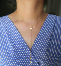 Crescent Moon & Stars - Y Shaped Necklace