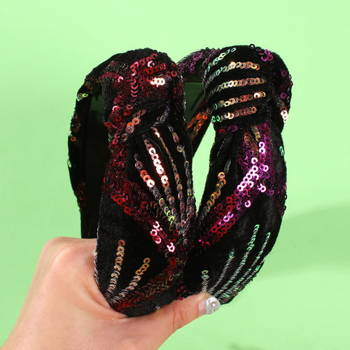 Velvet Sequin - Knotted  Headband