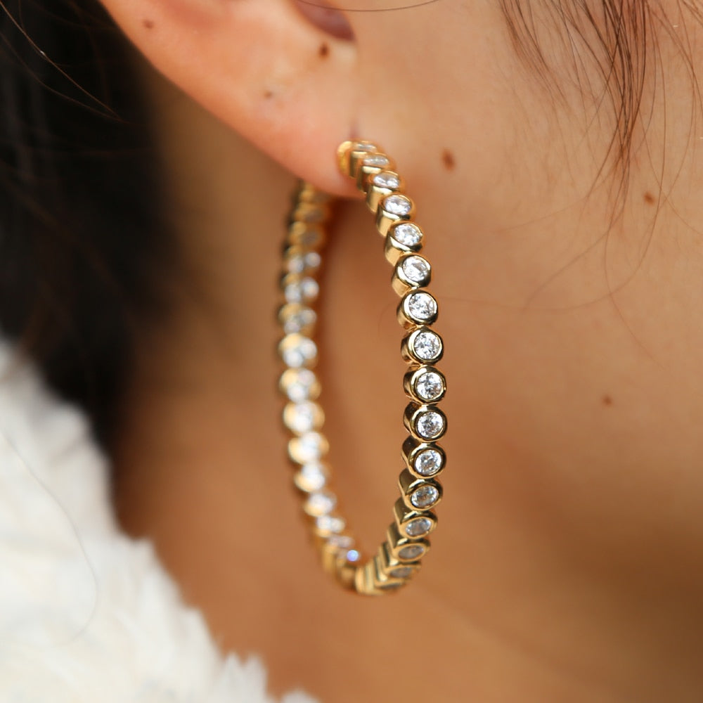 The Lustrous - Rhinestone Encrusted Hoop Earrings