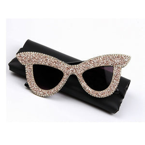 Savannah - Chunky Cat-eye Rhinestone Encrusted Sunglasses