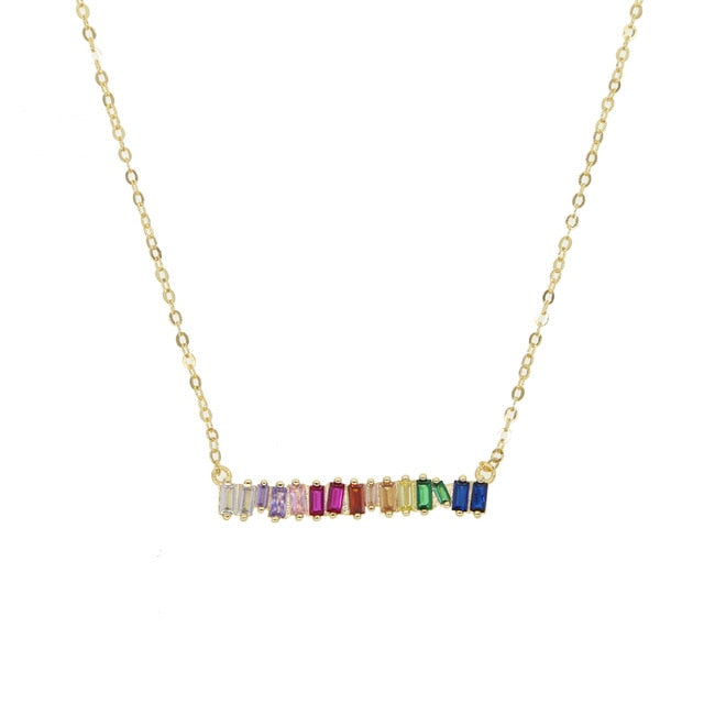 Rainbow Bar Baguetee Cut - Pendant Necklace