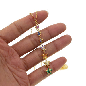 Rainbow Sparking Star - Charm Pendant Necklace