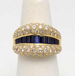 18K Yellow Gold Sapphire & Diamond Ring