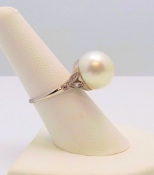 Antique Platinum South Sea Pearl & Diamond Ring
