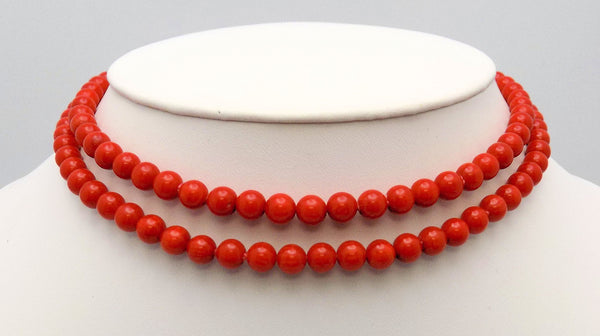 "32"" Strand Dark Red-Orange Coral Beads"