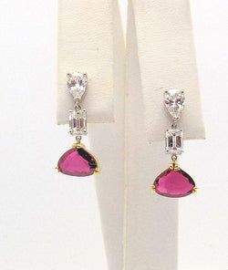 Platinum and 18K Yellow Gold Diamond & Ruby Earrings (Custom Made)