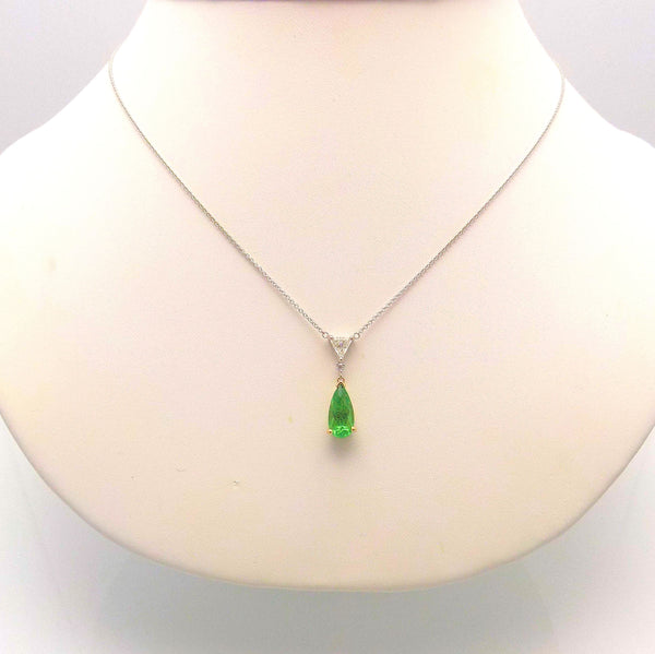 18K Yellow/White Gold Tsavorite & Diamond Pendant
