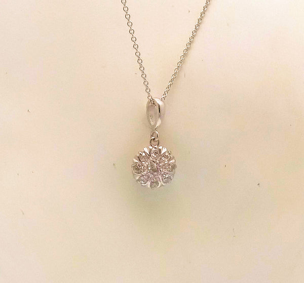 Diamond Cluster Pendant in 14K White Gold