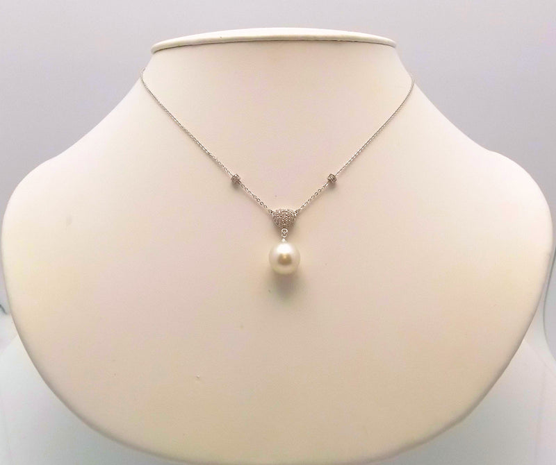 14K White Gold South Sea Cultured Pearl & Diamond Heart Pendant Necklace