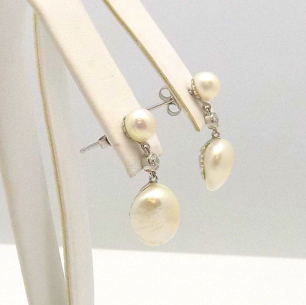 Pair of Antique Pearl & Diamond Pendant Earrings set in Platinum