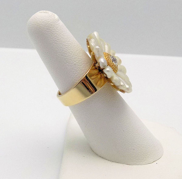 14K Yellow Gold Daisy Motif American Fresh Water Pearls & Diamond Ring