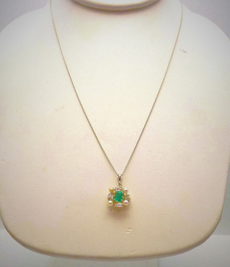 Platinum/14K Yellow Gold Late Victorian Emerald & Seed Pearl Pendant