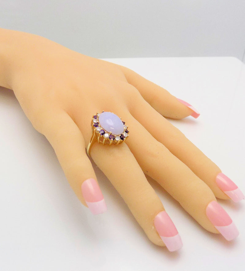 Lavender Jade, Amethyst & Diamond Ring set in 14K Yellow Gold