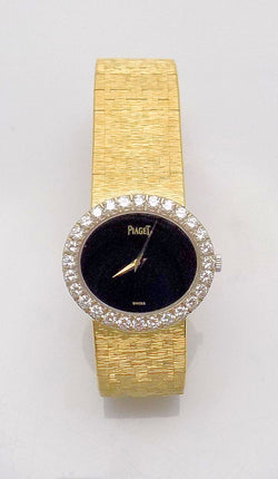 18K Yellow Gold Lady's Black Onyx Dial & Diamond Bezel Piaget Wrist Watch