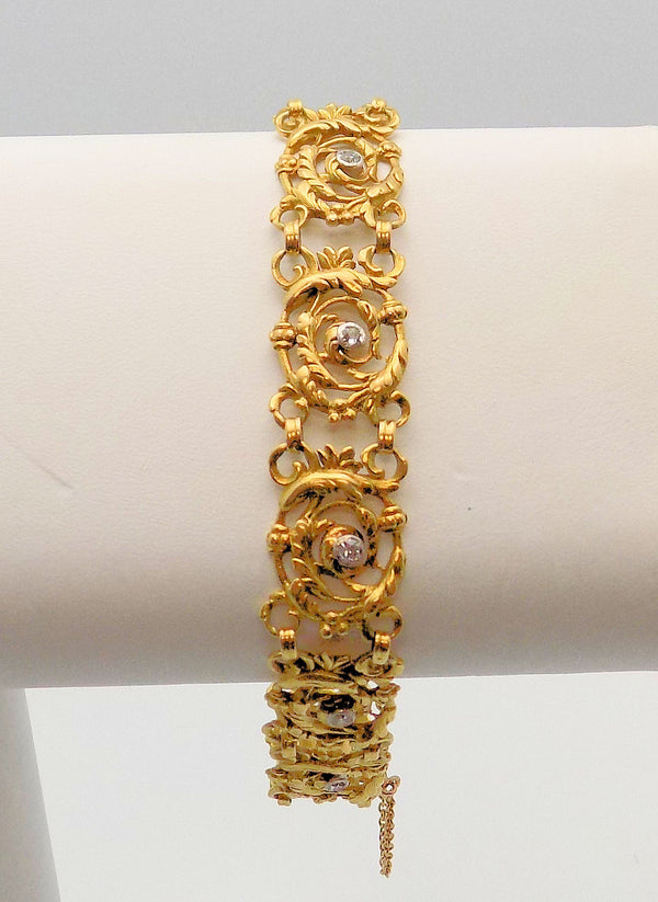Rare Antique French 18K Yellow Gold/Platinum Rococo Style Diamond Bracelet