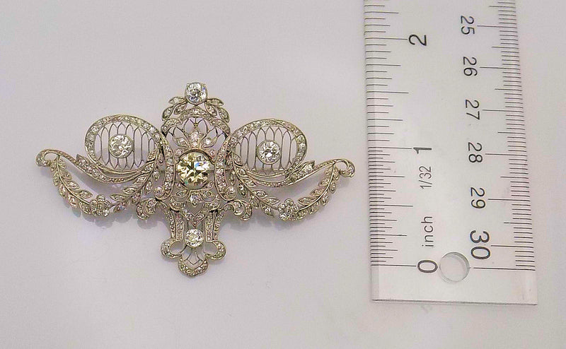 Platinum Filigree Edwardian Period Diamond Brooch/Pendant