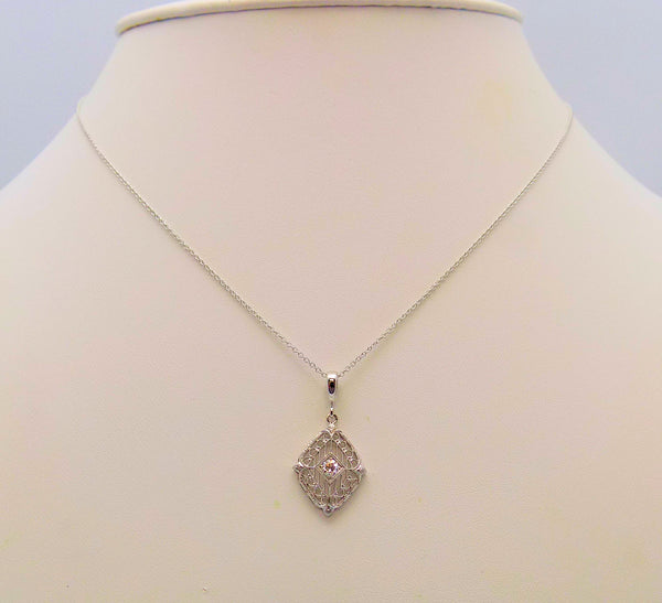 18K White Gold Diamond Filigree Pendant