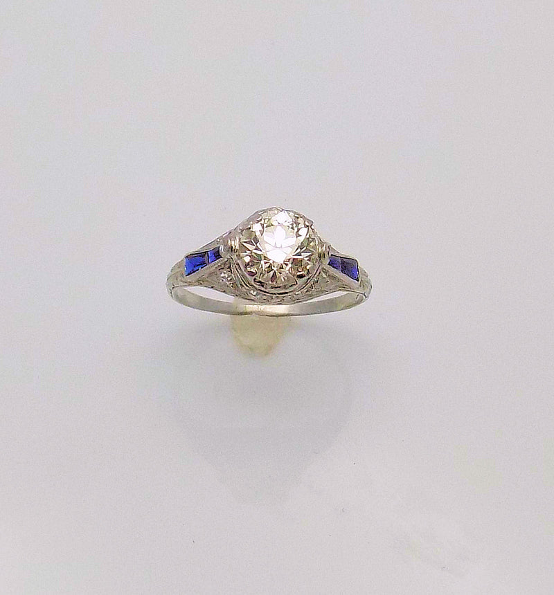 Antique Platinum Diamond & Sapphire Ring