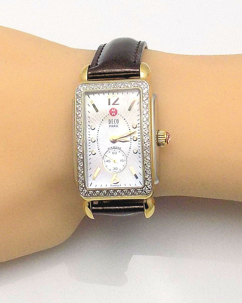 Michele Two-Tone Stainless Steel & Diamond Wristwatch 'Deco Park'