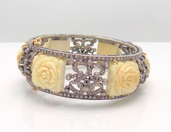 Victorian Sterling Silver Hinged Carved Bone Bangle Bracelet