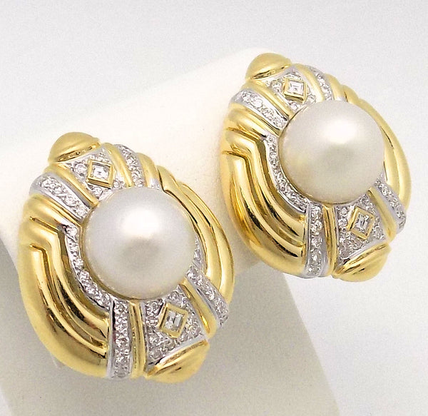 Pair 18K Yellow Gold Cultured Pearl & Diamond Earrings