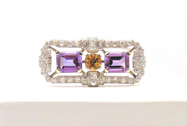 Amethyst, Citrine & Diamond Brooch/Dress Clip