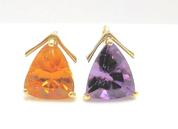Amethyst & Citrine Earring Pendants/Drops set in 18K Yellow Gold