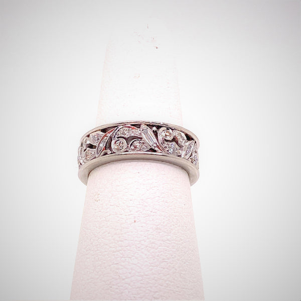 Platinum & Diamond Floral Motif Band