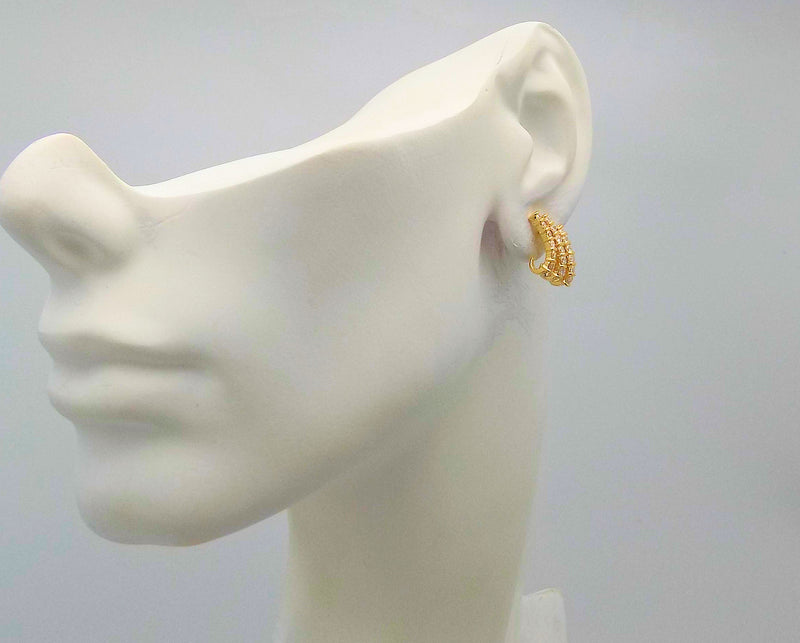 Pair 14K Yellow Gold Diamond Earrings