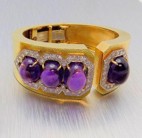 DAVID WEBB  Platinum/18K Yellow Gold Amethyst & Diamond Cuff Bracelet