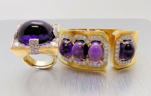 DAVID WEBB  Platinum/18K Yellow Gold Amethyst & Dia Ring & Bracelet Set