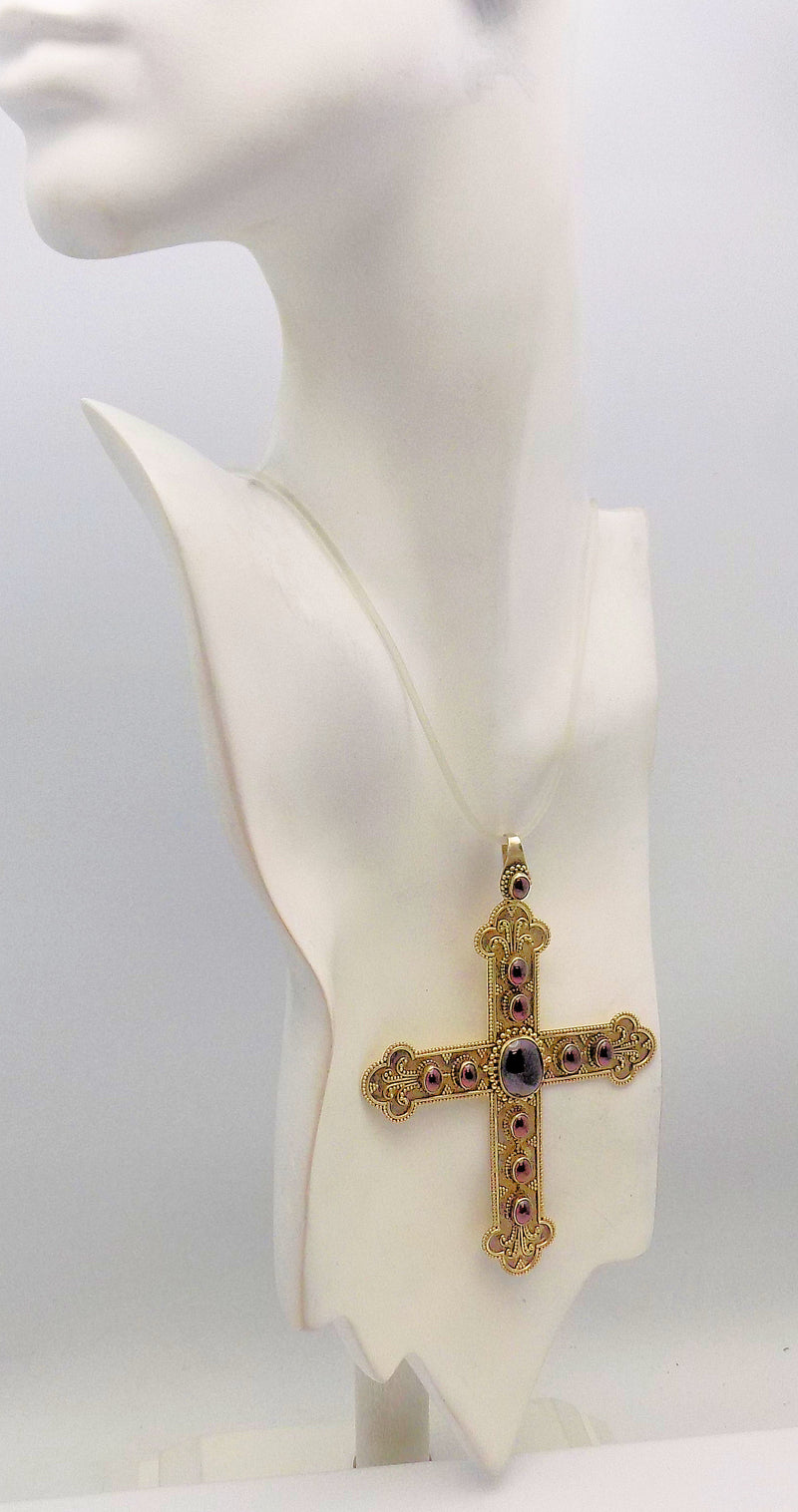 Sterling Silver/Gold Plate Garnet Baroque Style Cross