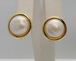 Pair GUMP'S 18K Yellow Gold Button FWCP Pierced/Clip Earrings