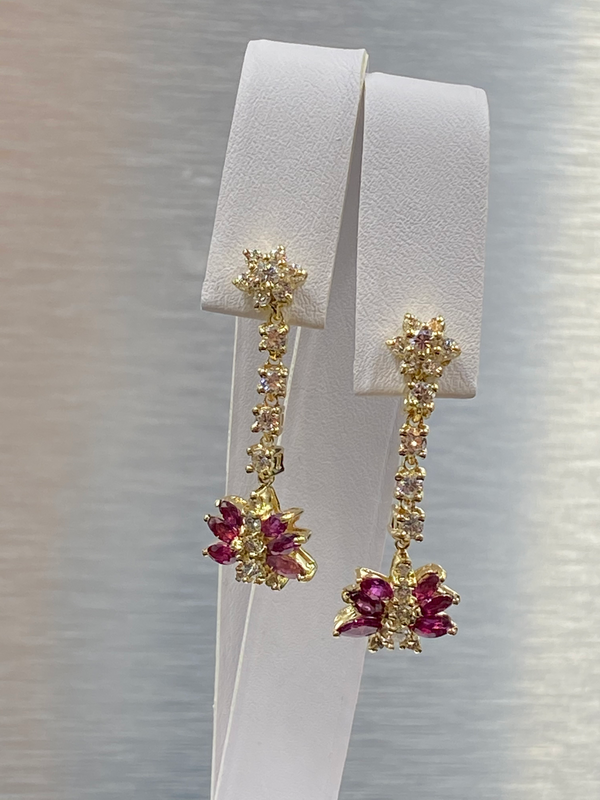 Pair 14K Yellow Gold Ruby & Diamond Pendant Earrings