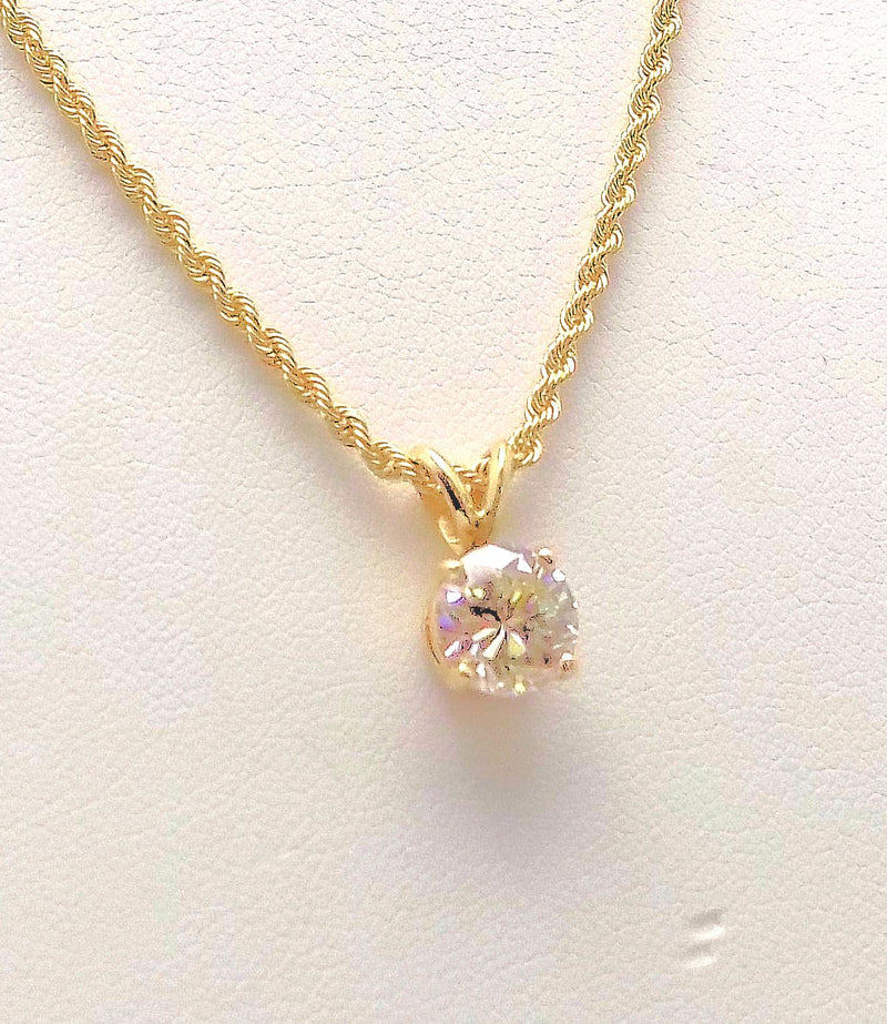 Diamond Pendant and 14k Yellow Gold Rope Chain