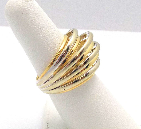 18K White & 18K Yellow Gold Domed & Ribbed Ring by Scavia